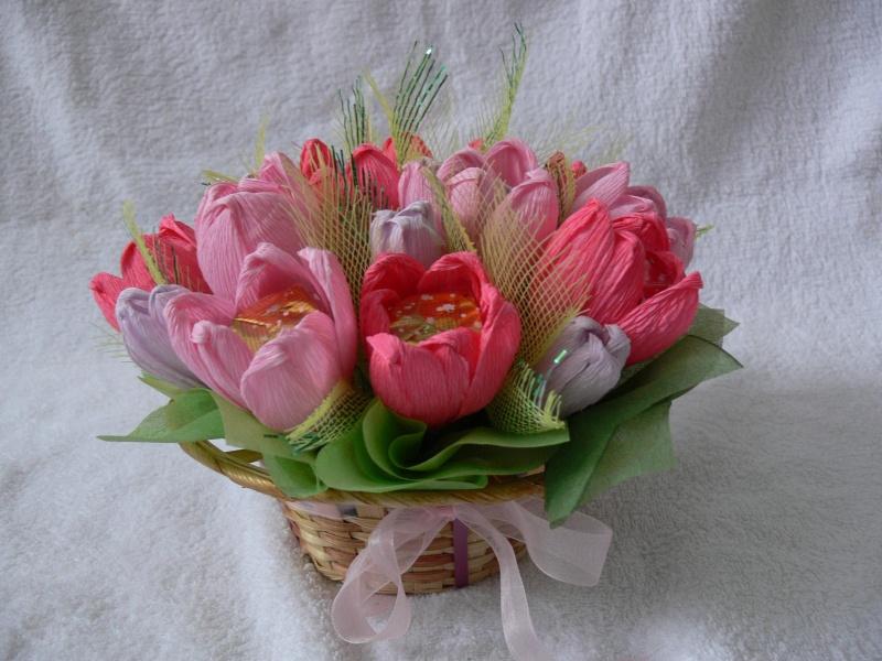 Сделать букеты из конфет тюльпаны своими руками